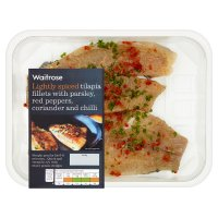 Waitrose tilapia fillets with coriander, chilli, parsley & peppers