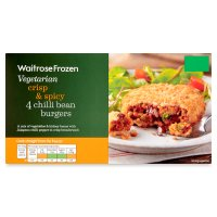 Waitrose Frozen 4 vegetarian chilli bean burgers