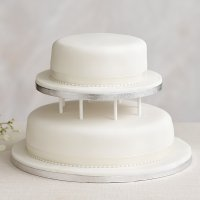 Soft Iced 2 Tier White Wedding Cake with Dowling , Madeira Sponge (all tiers)