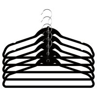 Waitrose black velvet hangers, pack of 5