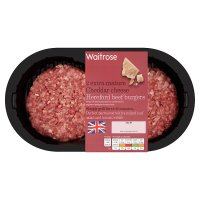 Waitrose 2 Hereford beef burgers with  cheddar cheese