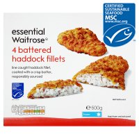 Waitrose essential MSC 4 frozen line caught battered haddock fillets