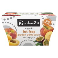 Rachel's organic fat free peach perfection yogurts