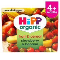 Hipp organic fruit and cereal, strawberry & banana - stage 1