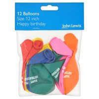 """John Lewis happy birthday balloons size 12"""""""