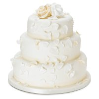 Fiona Cairns Ivory Rose Petal 3-tier Wedding Cake (Sponge)
