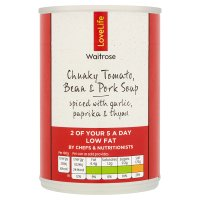 Waitrose Love life chunky tomato, bean & pork soup