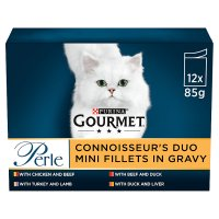 GOURMET Perle Adult Cat Mini Fillets in Gravy Meat Duo Wet Cat Food Pouch