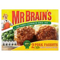Mr Brain's 2 pork faggots in a West Country sauce