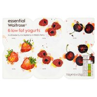 essential Waitrose 6 strawberry / raspberry / cherry low fat yogurts
