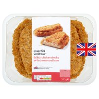 essential Waitrose British breaded chicken topped with cheese & ham