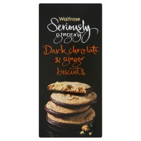 Waitrose Seriously Gingery dark chocolate & ginger biscuits