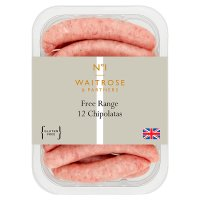 Waitrose 12 British free range pork chipolatas