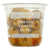 Waitrose Kalkidis olives stuffed with pimento in a herb dressing