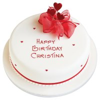 Hearts Celebration Cake - Fruit - 20cm (Ruby)