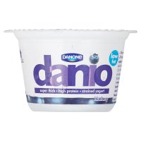 Danio yogurt with a blueberry fruit layer