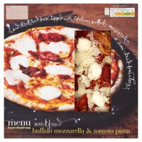 menu from Waitrose buffalo mozarella & tomato pizza