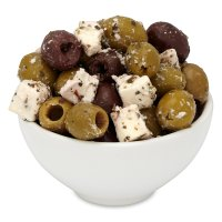 Waitrose green & black olives with feta in a herb dressing