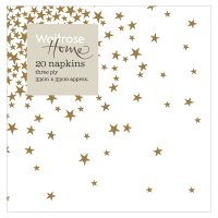 Waitrose Home Gold Stars Napkins 33cm x 33cm