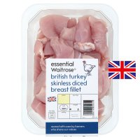 essential Waitrose British diced turkey breast fillet
