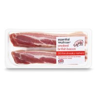 essential Waitrose 20 British Outdoor Bred smoked thin cut streaky bacon rashers