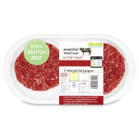 essential Waitrose 2 British beef reduced fat burgers