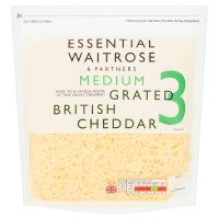 Essential Waitrose english grated cheddar (medium)