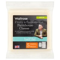 Waitrose Somerset farmhouse half fat mature cheese, strength 5