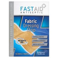 Fast aid antiseptic fabric dressing strip