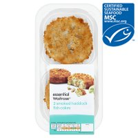 essential Waitrose MSC 2 smoked haddock fishcakes