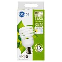 GE energy saving 1450 lumen 23W B22 BC spiral