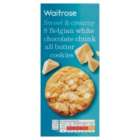 Waitrose 8 Belgian white chocolate cookies