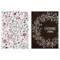Waitrose Black White Holly Cards