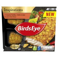 Birds Eye 2 crunchy tortilla, chilli & lime breaded fish fillets frozen