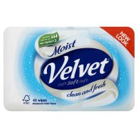 Velvet moist wipes tub