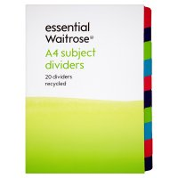 essential Waitrose mixed coloured subject dividers, pack of 20