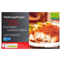 Waitrose MSC frozen 2 line caught breaded haddock fillets
