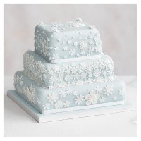 Blossom 3 Tier Pastel Blue Wedding Cake, Golden Sponge (all tiers)