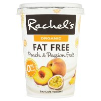 Rachel's organic fat free peach & passionfruit yogurt