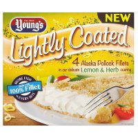 Young's 4 lightly coated pollock fillets lemon