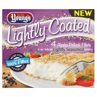 Young's 4 lightly coated pollock fillets seasoned