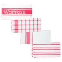 Waitrose Cooking red tea towels, set of 4