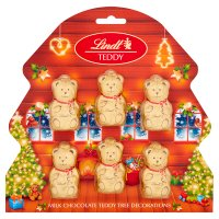 Lindt 6 milk chocolate bear decorations