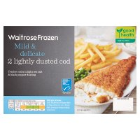 Waitrose MSC frozen mild & delicate lightly dusted cod x 2