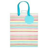 Waitrose Pink Stripe Medium Gift Bag