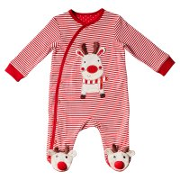 Waitrose REINDEER STIPE SLEEPSUIT WITH NO