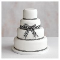 Classic Ribbon' 4 tier  White Wedding Cake, Fruit (base) & Chocolate Sponge (3 tiers)