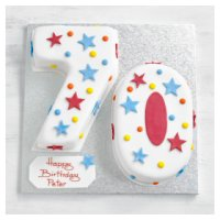 70th Birthday stars and dots cake