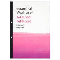 essential Waitrose A4 ruled refill pad, pack of 80 sheets