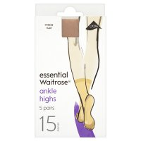 essential Waitrose natural ankle high tights, pack of 5